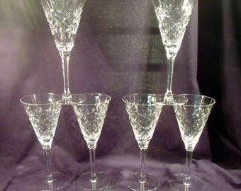 Set of 6 Seneca America Pattern Cut Crystal Water or Wine Goblets with Placed Bubble in Stem