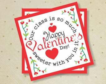 Printable Valentine Tag. Valentine's Day Tag. Printable Valentine's Kids Tags. Valentine's Gift Favor Tags.