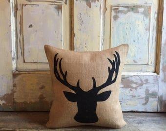 Pillow Cover | Reindeer pillow | Deer Bust | Holiday Decor | Holiday pillow | Christmas pillow | Christmas decor | Woodland Decor |