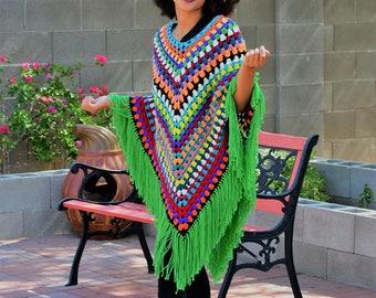 Vintage 1970s Crochet Granny Square Poncho/ Fringed Shawl/ Crochet Cloak Wrap/Colorful Afghan Poncho/Hippie/ Boho Shawl/ One Size Fits Most
