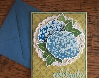 Birthday Hyrangea Card - Birthday Card - Hydrangea Card - Happy Birthday Card