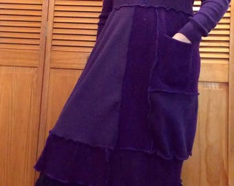 SALE Sweater Dress Patchwork M/L Medium Large Ruffled Recycled Wool Eco Friendly Deep Purple Women Handmade Clothing