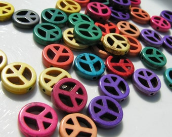 Colorful Turquoise Peace Sign Beads   6