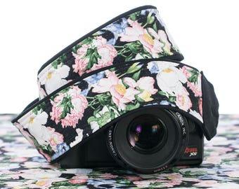Floral dSLR Camera Strap, Iris, Rose, Peony, Carnation, Pink, Violet, Coral, Replacement strap for Canon Nikon Pentax Minolta etc. 164 w