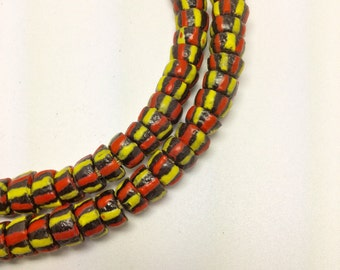 Krobo beads, Ghana powder glass beads, full strand, jewelry supply