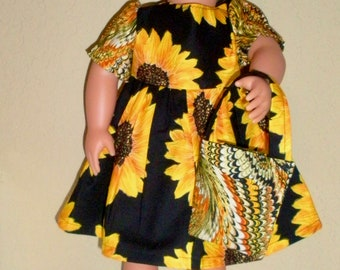 Sunflower Dress---18 inch doll dresses---Girl doll dresses---Girl doll clothes