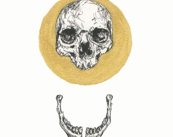 Gold Circle Skull and Jaw print A4