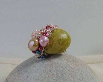 Serpentine n Cultured Freshwater Pearls on Sterling Silver Ring