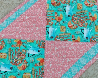 Pink and Teal Table Runner, Kitchen Decor, Quilted Table Runner