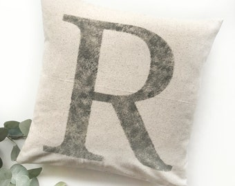 Initial Pillow   Mongram Pillow   Rustic Letter Pillow Cover   Farmhouse Pillow   Multiple Sizes Available   Pillow Cover   Made To Order