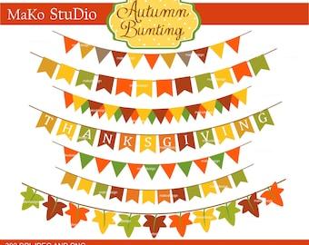 Bunting Clip Art // Autumn Bunting Clip Art, Banner Clip Art, autumn clip art ,fall season clip art, PNG & JPEG format, SALE