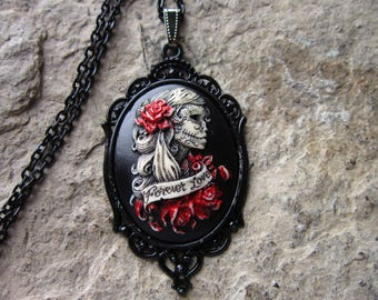 Forever Love Zombie, Skeleton Woman (Hand Painted) Cameo Necklace - Black Setting - Goth Wedding, Halloween, Unique, Goth, Gothic, Zombie