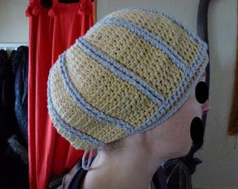 Light brown and gray crochet Beanie
