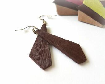 Brown earrings, Bohemian earrings, Hippie earrings, Tribal earrings, Earthy earrings, Boho jewelry, Long earrings, Simple dangle earrings