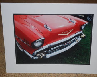 photo card, red 1957 Chevy classic car photograph