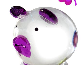 Lucky charm, lucky pig, glass figurines, animals made of glass