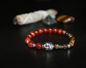 Yellow Tiger Eye Fire Agate Bracelet for Strength and Protection; Mala Bracelet