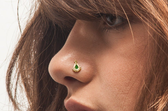 Gold Nose Stud Solid 14k Yellow Gold Nostril Pin Nose Ring