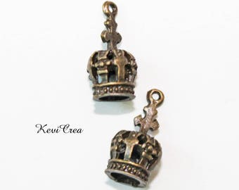 10 x small charms crowns bronze 3D