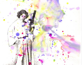 Star Wars Print Art Princess Leia Art Print From Original Watercolor Painting  Star Wars Art Print Movie Poster Star Wars Wall Art Decor