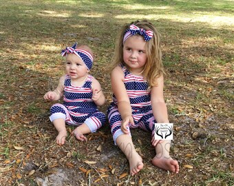 4th Of July Romper,Red White and Blue Romper,Romper,Headband,Baby Romper,Girls Romper,Baby Girl Romper,Kids Romper,Baby Clothes,4th Of July