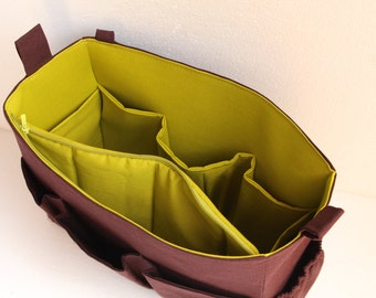 Taller Large Bag organizer with padded pocket for iPad and zipper - Brown and green color