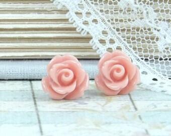 Antique Pink Rose Studs Rose Stud Earrings Antique Pink Flower Studs Hypoallergenic Pink Rose Earrings