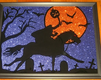 Hand Painted Halloween HEADLESS HORSEMAN on Glass - REVERSE PAiNTED - Blue Glitter Paper - 9.5 x 11.5 Frame - Halloween Decor