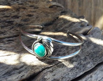 Turquoise Cuff ~Sterling Silver Bracelets~Silver Cuff~Native American Jewelry-western Navajo~Indian Jewelry