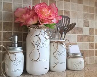 Mason Jar Kitchen Set-Housewarming Gift-Mason Jar Decor-Mason Jar Soap Dispenser-Painted Mason Jars-Farmhouse Decor-Country Kitchen Decor