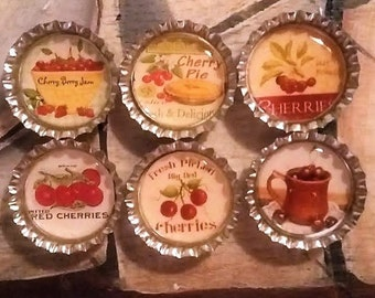 Six Vintage Cherries Magnets on Silver Bottle Caps