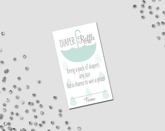 Diaper Raffle Ticket - Umbrella Baby Shower - Hanging Umbrella and Rain Drops - Blue Green and Grey - INSTANT DOWNLOAD - Printable