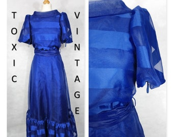 VINTAGE 1960's 1970's Royal Blue Self Stripe Roll Neck MAXI Dress. Uk Size 10-12 Retro, Prom, Boho, Gown, Evening, Elegant, Occasion, Formal