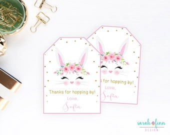 Easter gift tags etsy bunny party favor tags printable birthday thank you tags hopping by first birthday easter gift tags negle Images