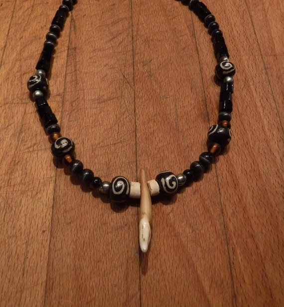 "Large Wolf Tooth Necklace 18"" Wolf Teeth Native American African Wolf Pendant Tribal Necklace Coral Bone Tigers Eye Wood Tribal Native"