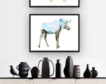 Animal Prints, Deer Print, Modern Animal Art, Deer Wall Art, Woodland Poster, Moose Wall Art, Woodland Animal Prints, Animal Downloads, Set
