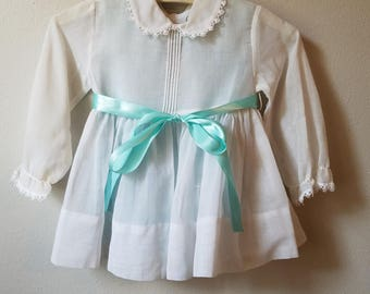 Vintage Girls White Long- sleeved dress with Blue Slip and Sash by C.I. Castro - Size 2t - New, never worn