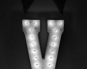 "Galvanized Metal Marquee Light Letter- 21""- Distressed White"