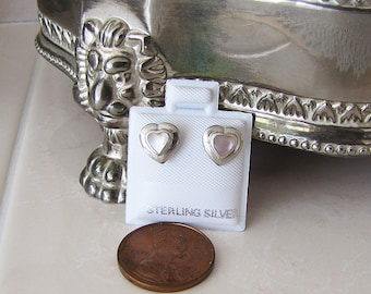 Heart Mother of pearl Sterling Silver Studs Earrings, small MOP studs