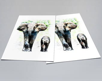 Elephants - Correspondence Notecard - Postcard Notecard for Holidays - Birthdays - Any Occasion - Watercolor Art Card