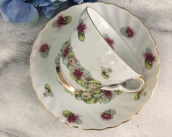 July Water Lily Teacup and Saucer Set Lefton #2320 China Lovely!