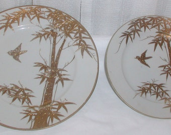 Two Pretty Gold and White Plates