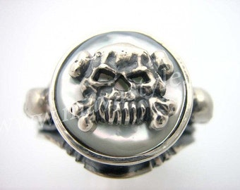 Sterling Silver Pirate Skull Ring Mother of Pearl Nacre