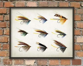 Fly Fishing Lure Print # 2 - Game Fishing Art Print - Fly Fisherman - Fishing Art Print - Angling Wall Art Print - Fishing Gift Idea