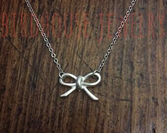 Birdhouse Jewelry - Silver Tiny Bow Necklace