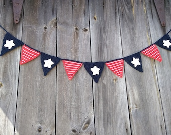 Crochet Cotton Banners Red, White And Blue, Patriotic Banners Buntings, Crochet Banners Red, White & Blue