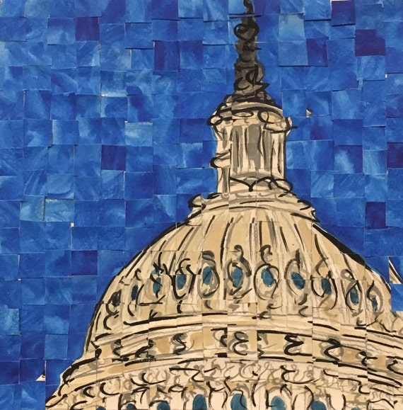 "Washington DC- US Capitol - Architectural Art: 8""x8"" Original Painting"