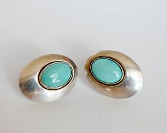 Vintage Sterling Silver Earrings, Vintage Turquoise Studs, Turquoise Sterling Silver Earrings, Turquoise Studs, Boho Silver Earrings Studs