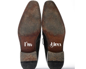 Shoe Decals, Wedding Sticker Decals for Your Shoes, I'm Hers & I'm His Shoe Decals