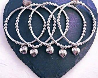 Sterling Silver PUFF HEART Noodle Bracelet